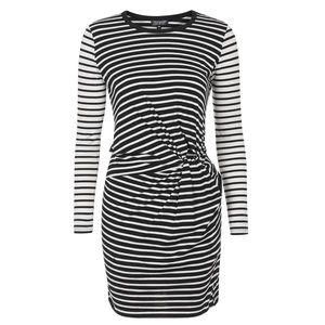 TOPSHOP Black White Stripe Knot Front Mini Dress